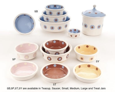 Double Dot Ceramic Dog Bowl Collection by Petware Pottery
