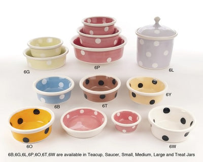 Brights & Dots Ceramic Dog Bowl Collection by Petware Pottery