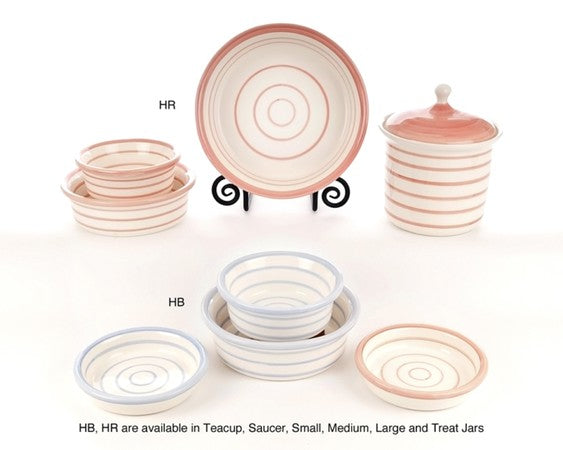 Circles 'N Stripes Ceramic Dog Bowl Collection by Petware Pottery