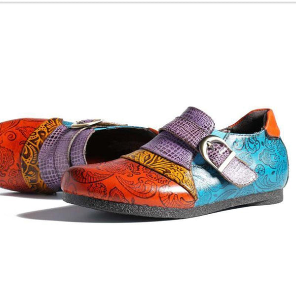 Retro Handmade Unique Patterned Color Block Flats Casual Daily Loafers