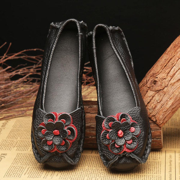 Women Casual Soft Handmade Floral Genuine Leather Flats Casual Daily Loafers