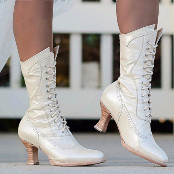 Women Boots Vintage Casual Lace-Up Low Heel Closed Toe Ruched Boots-Shoe-Wotoba-White-35-Wotoba