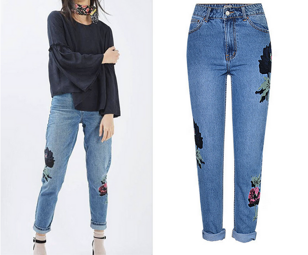 Casual Floral Embroidered Jeans Slim Denim Pants