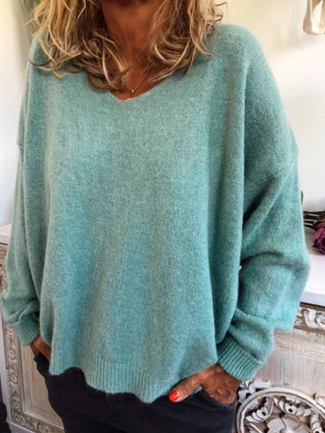 Women's Oversize Casual Tops Tunic Blouse Solid Sweater