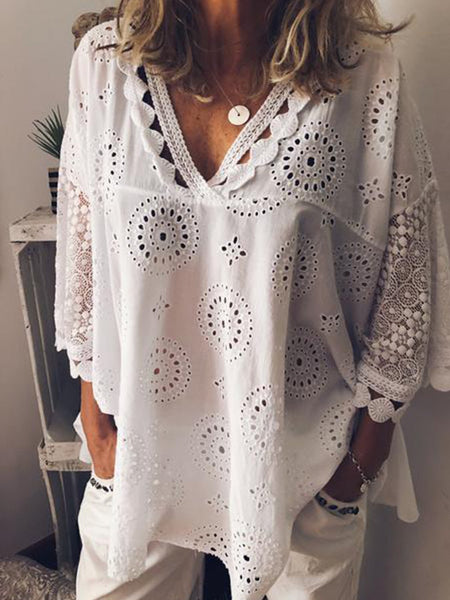 Women Casual Cutout Blouse T Shirt Tunic Top