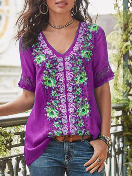 Casual Short Sleeve Patchwork V Neck Shirt-Top-Wotoba-Purple-S-Wotoba