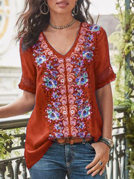 Casual Short Sleeve Patchwork V Neck Shirt-Top-Wotoba-Red-S-Wotoba