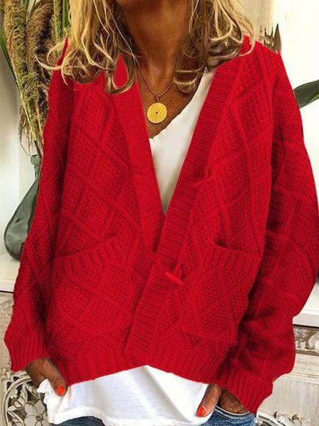 Casual Plus Size Knitting Chunky Cardigan Plus Size Outerwear