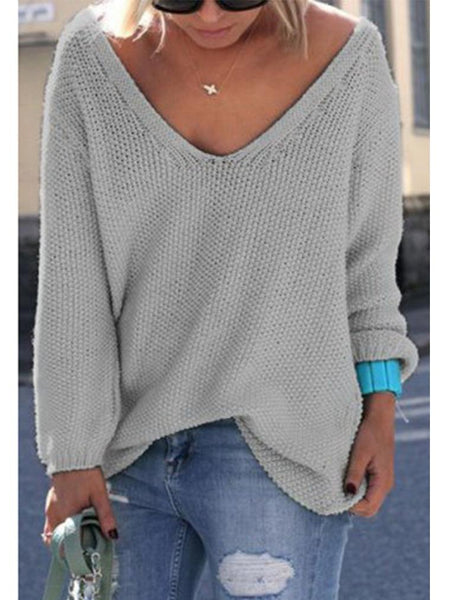 Plus Size Solid V-neck Long Sleeve Knitted Sweater