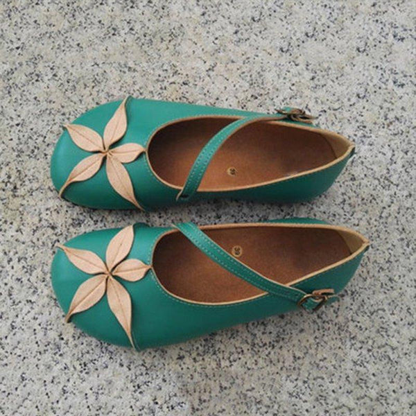 Green Daily Buckle Vintage Soft Flats Casual Loafers