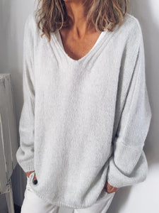 White Casual Solid Knitwear Tops