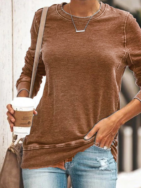 Women's Comfy Plus Size Casual Round Neck Long Sleeve Cotton-Blend Shirts & Tops