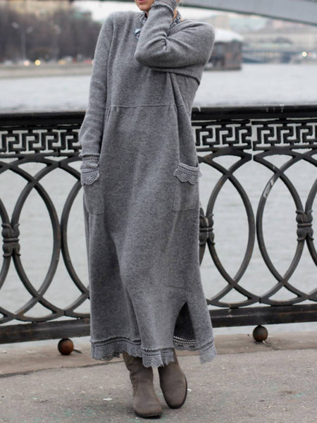 Gray Crew Neck Cotton Casual Pocket Long Sweater