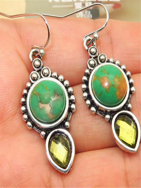 Vintage Natural Stone Turquoise Earrings