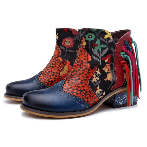 Handmade Retro Genuine Leather Boho Printed Tassels Casual Cowboy Boots Booties