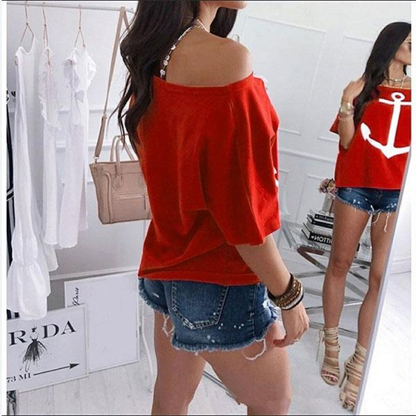 Casual Vacation Style Off The Shoulder Anchor Print T-Shirt