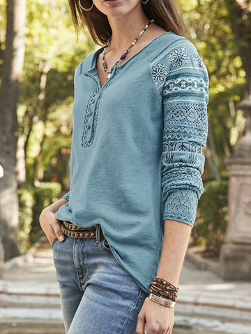 Women's Ethnic Shirts V Neck Long Sleeve Button Tops