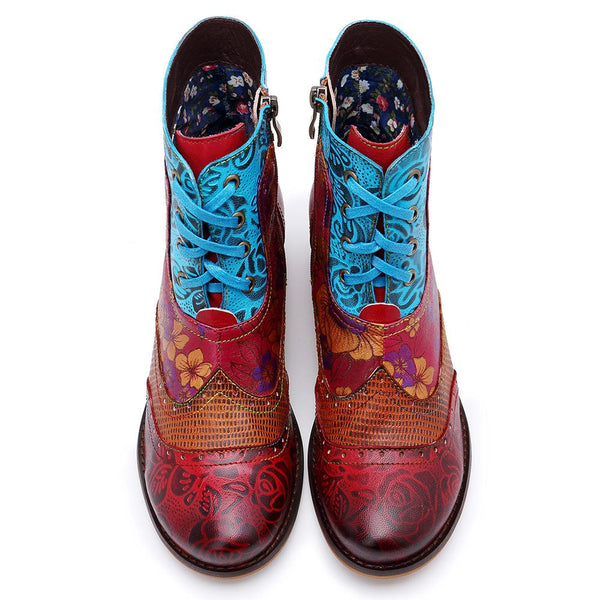 Women's Retro Handmade Genuine Leather Boho Style Flower Printed Boots