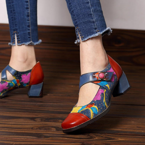 Retro Handmade Genuine Leather Boho Mid Heel Hook Loop Square Head Pumps Shoes