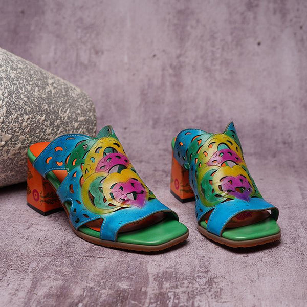 Handmade Vintage Genuine Leather Ethnic Printed Wedge Cutout Fish Mouth Sandals