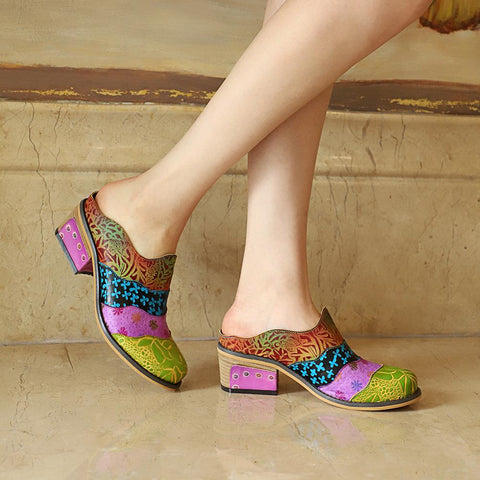 Retro Handmade Splicing Genuine Leather Print Slipper Vintage Sandals