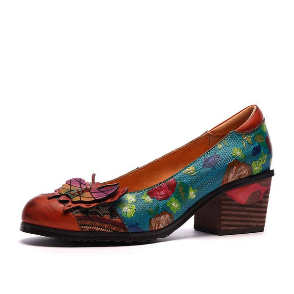 Retro Handmade Thunky Heel Shoes Female Genuine Leather Ethnic Style Flower Stitching Pump Shoes