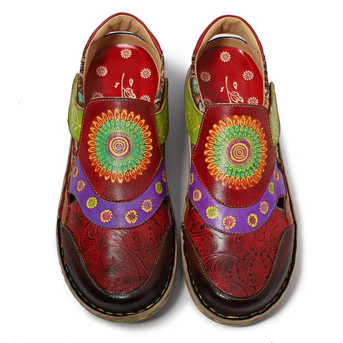 Handmade Boho Floral Painted Retro Soft Genuine Leather Casual Flats Comfy Daily Loafer