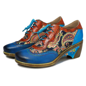 Bohemian Retro Flower Painted Brogue Handmade Genuine Leather Pump Booties