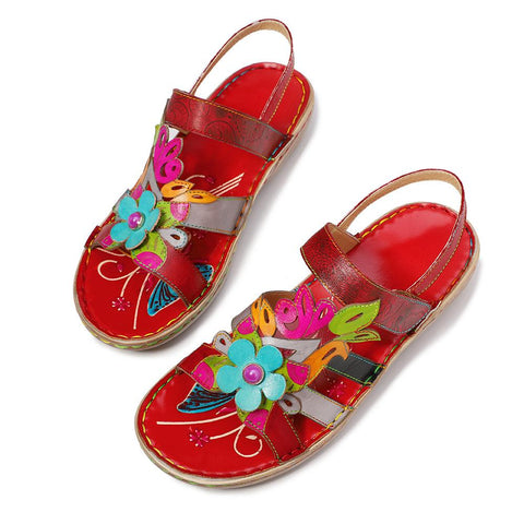 Velcro Handmade Boho Genuine Leather Retro Flower Stitching Super Soft Slip-on Sandals