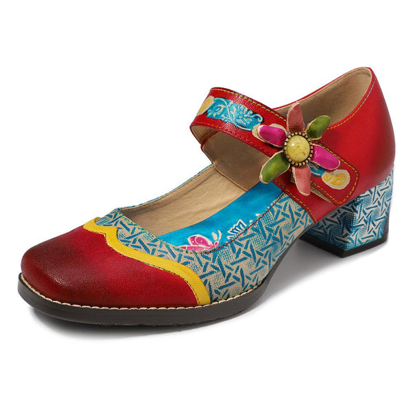 Handmade Retro Genuine Leather Flower Stitching Velcro Mary Jane Shoes