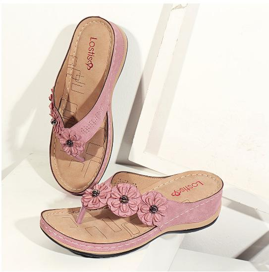Handmade Vintage Flowers Female Sandals Flip-flops Comfy Daily Flat Loafer Daily Shoes