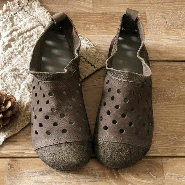 Breathable Hollow-out Flat Shoes-Shoe-Wotoba-Gray-35-Wotoba