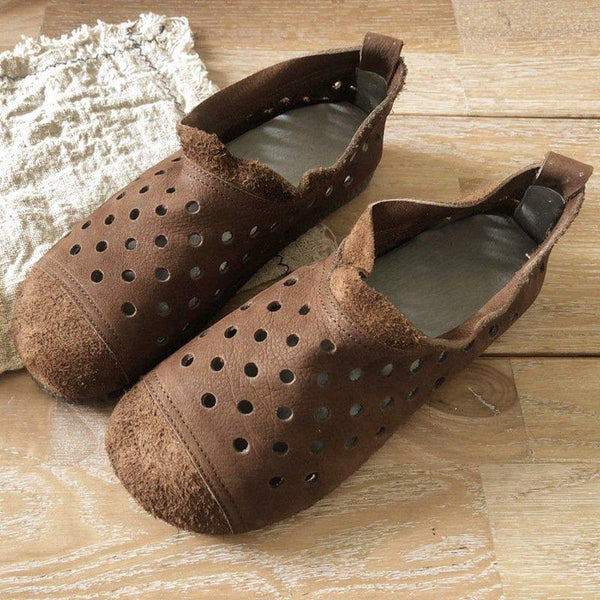 Breathable Hollow-out Flat Shoes-Shoe-Wotoba-Coffee-35-Wotoba
