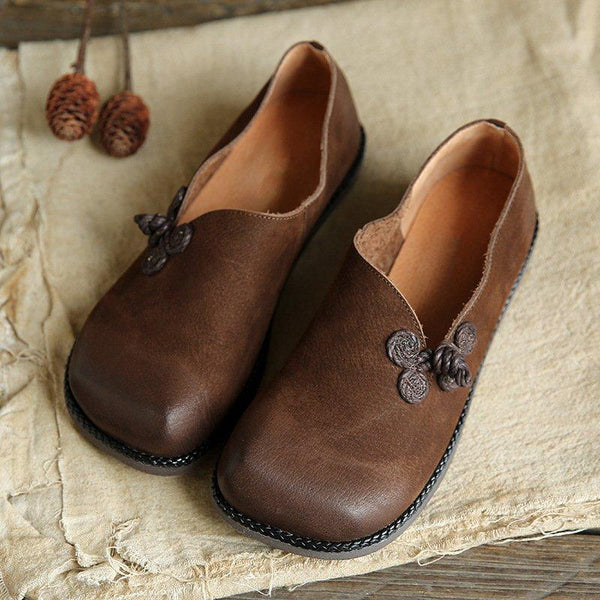 Simple PU Leather Flat Soft Loafers