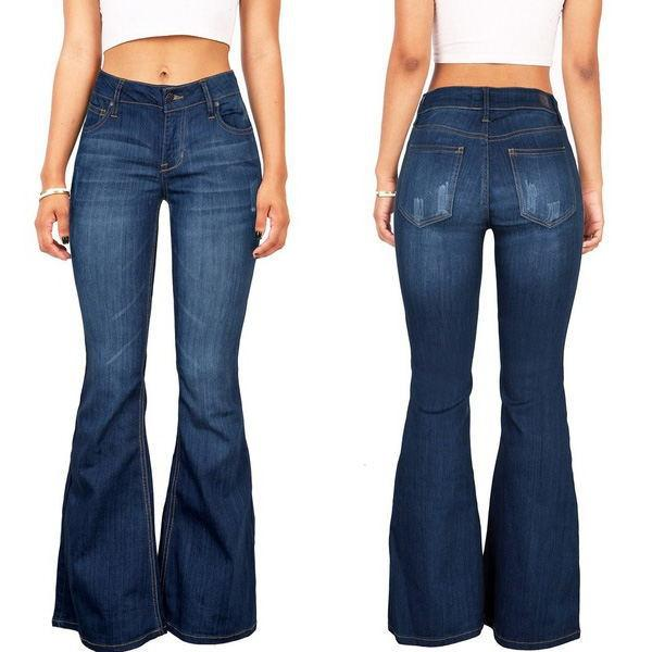 70s Stretchy Denim Mid Rise Bell Bottoms - A Super Life