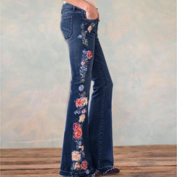 70s Floral Embroidered Bell-bottom Denim Jeans