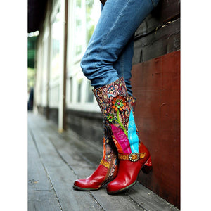 Boho Handmade Vintage Ethnic Style Genuine Leather Women's High Tube Boots