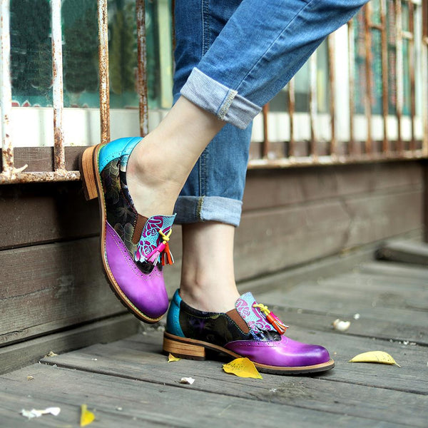 Retro Fringed Handmade Genuine Leather Boho Flat Loafer All Season Daily Shoes