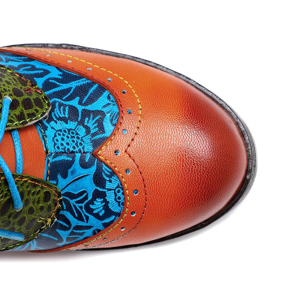 Boho Spring Printed Stitching Retro Style Handmade Genuine Leather Lace Up Sandal Shoes