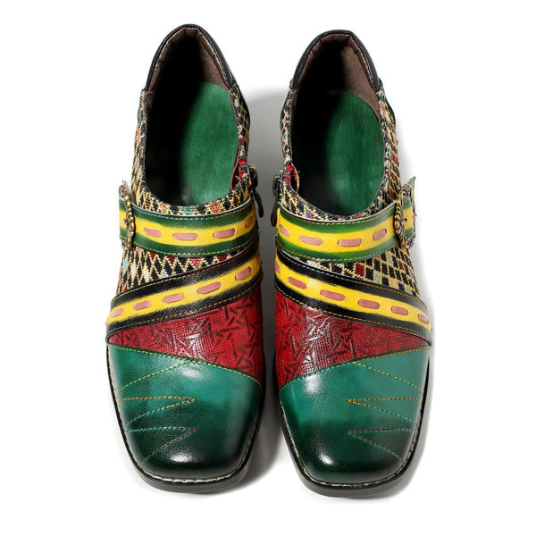 Boho Green Stitching Retro Style Handmade Genuine Leather Pump Shoes