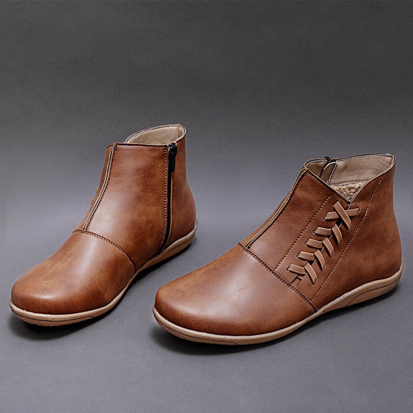All Season Soft Leather Adjustable Flat Heel Boots Booties