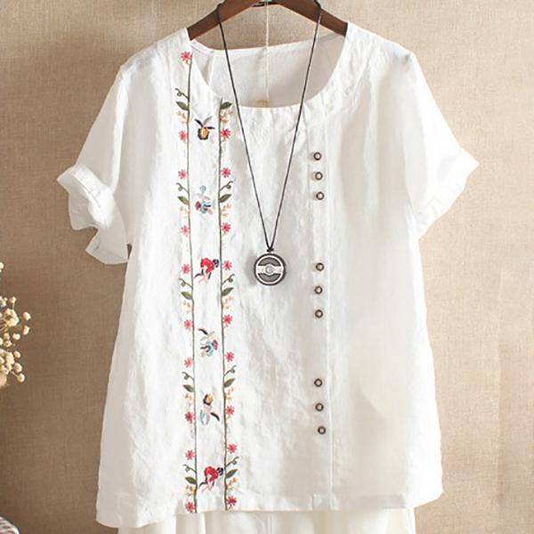 Women Floral Printed Large Size Casual Short-Sleeve T-Shirt