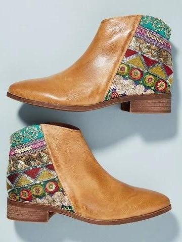 Bohemia Vintage Chunky Heel Ethnic Pattern Embroidery Genuine Leather Booties Boots