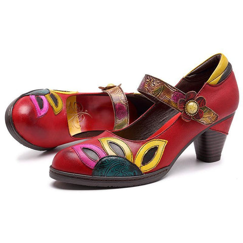 Retro Handmade Colorful Leaf Pattern Genuine Leather Slip-on Pump Sandals