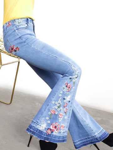 Embroidered Bell-bottoms Jean Pants Denim Bottoms