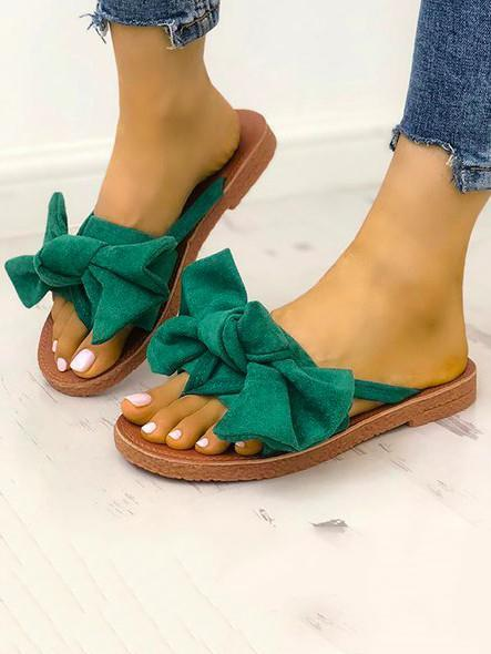 Fashion Summer Vacation Style Casual Bowknot Slipper Sandals 3 Colors