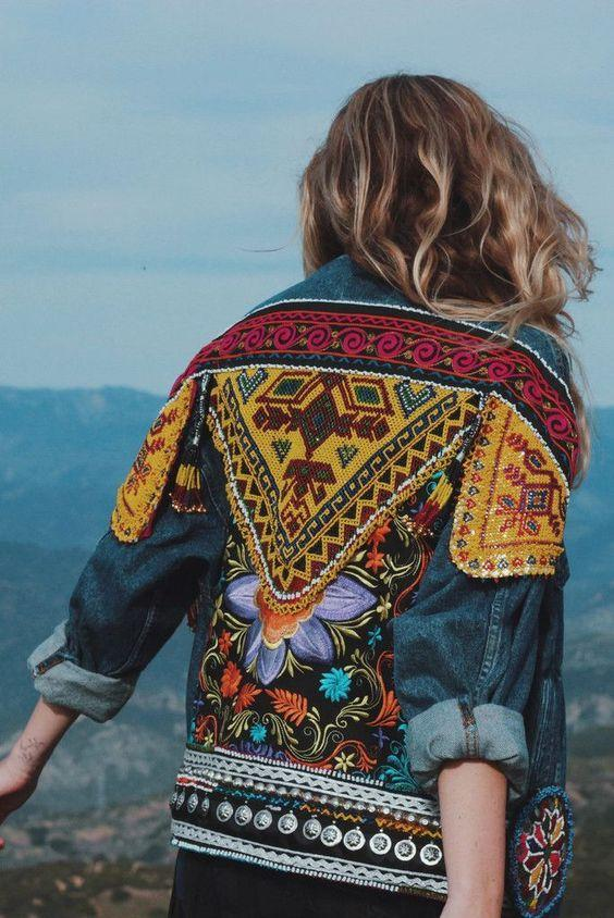 Ethnic Embroidery long sleeves Contrast Color boho jacket outerwear