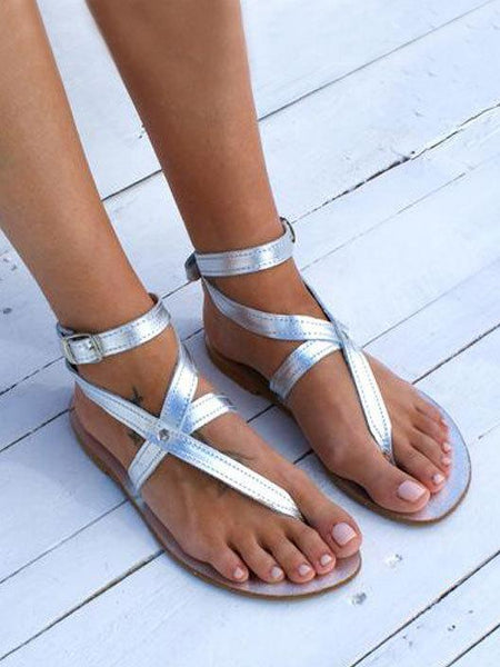 Simple Peep Toe Strap Flat Sandals