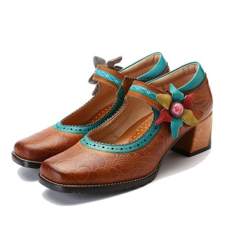Retro Handmade Flower Stitching Genuine Leather Pumps Mary Jane Sandals