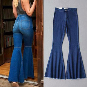 【Only $29.98!!】High Waist Bell Bottoms Flared Denim Pants - A Super Life